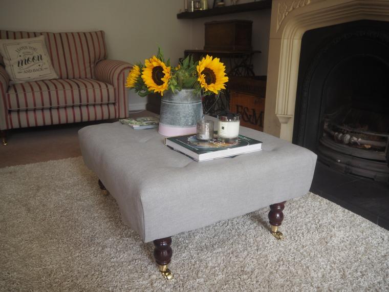 The Little Little Lash Room DIY Fabric Footstool Ottoman